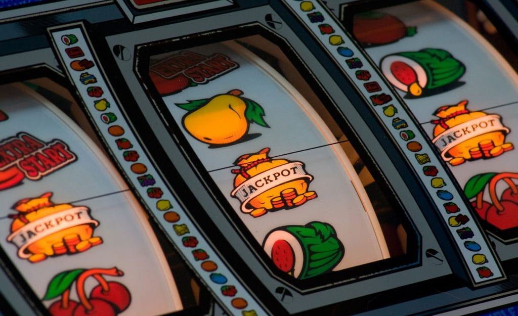 Close-up of a fruit machine